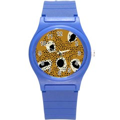 Surface Patterns Spot Polka Dots Black Round Plastic Sport Watch (s) by Mariart