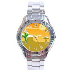 Sunrise Sunset Desert Sun Light Orange Ice Snow Stainless Steel Analogue Watch by Mariart