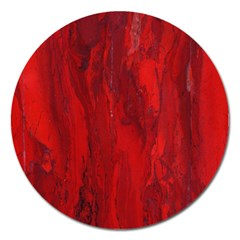 Stone Red Volcano Magnet 5  (round) by Mariart