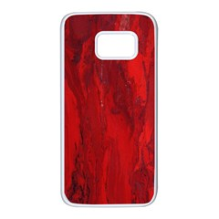 Stone Red Volcano Samsung Galaxy S7 White Seamless Case by Mariart