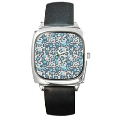 Sunbathing Beach Sea Square Metal Watch