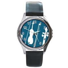 Violin Music Blue Round Metal Watch by Mariart