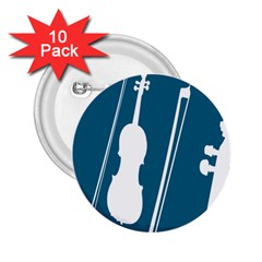 Violin Music Blue 2 25  Buttons (10 Pack)