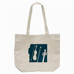 Violin Music Blue Tote Bag (cream) by Mariart