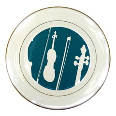 Violin Music Blue Porcelain Plates by Mariart