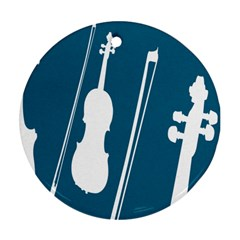 Violin Music Blue Round Ornament (two Sides) by Mariart