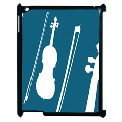 Violin Music Blue Apple Ipad 2 Case (black) by Mariart