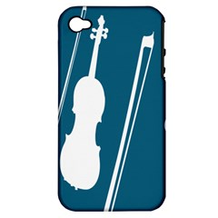 Violin Music Blue Apple Iphone 4/4s Hardshell Case (pc+silicone) by Mariart