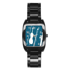 Violin Music Blue Stainless Steel Barrel Watch by Mariart