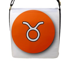 Taurus Symbol Sign Orange Flap Messenger Bag (l)  by Mariart