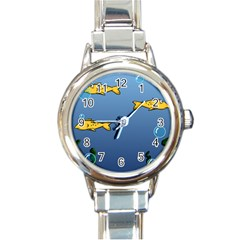 Water Bubbles Fish Seaworld Blue Round Italian Charm Watch by Mariart