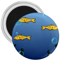 Water Bubbles Fish Seaworld Blue 3  Magnets by Mariart