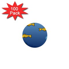 Water Bubbles Fish Seaworld Blue 1  Mini Buttons (100 Pack)  by Mariart