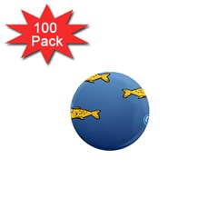 Water Bubbles Fish Seaworld Blue 1  Mini Magnets (100 Pack)