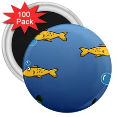 Water Bubbles Fish Seaworld Blue 3  Magnets (100 Pack) by Mariart