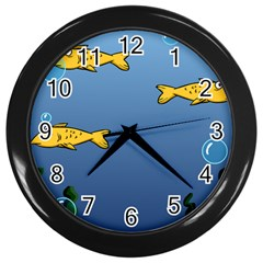 Water Bubbles Fish Seaworld Blue Wall Clocks (black) by Mariart