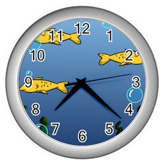 Water Bubbles Fish Seaworld Blue Wall Clocks (silver)  by Mariart