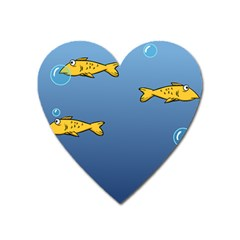 Water Bubbles Fish Seaworld Blue Heart Magnet by Mariart