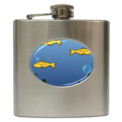 Water Bubbles Fish Seaworld Blue Hip Flask (6 Oz)