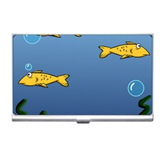 Water Bubbles Fish Seaworld Blue Business Card Holders by Mariart