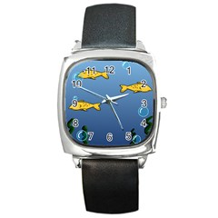Water Bubbles Fish Seaworld Blue Square Metal Watch by Mariart