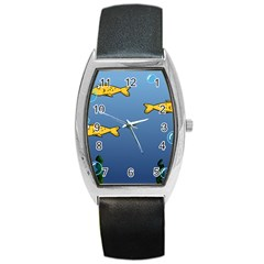 Water Bubbles Fish Seaworld Blue Barrel Style Metal Watch by Mariart
