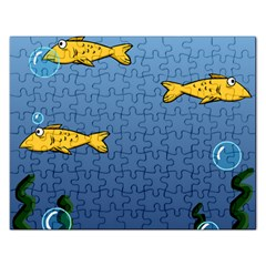 Water Bubbles Fish Seaworld Blue Rectangular Jigsaw Puzzl by Mariart