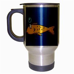 Water Bubbles Fish Seaworld Blue Travel Mug (silver Gray) by Mariart