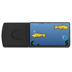 Water Bubbles Fish Seaworld Blue Usb Flash Drive Rectangular (4 Gb) by Mariart