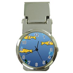 Water Bubbles Fish Seaworld Blue Money Clip Watches by Mariart