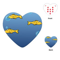 Water Bubbles Fish Seaworld Blue Playing Cards (heart)  by Mariart