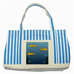 Water Bubbles Fish Seaworld Blue Striped Blue Tote Bag by Mariart