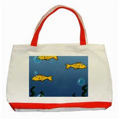Water Bubbles Fish Seaworld Blue Classic Tote Bag (red) by Mariart