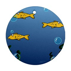 Water Bubbles Fish Seaworld Blue Round Ornament (two Sides) by Mariart