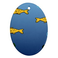 Water Bubbles Fish Seaworld Blue Oval Ornament (two Sides) by Mariart