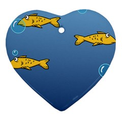 Water Bubbles Fish Seaworld Blue Heart Ornament (two Sides) by Mariart