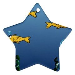 Water Bubbles Fish Seaworld Blue Star Ornament (two Sides) by Mariart