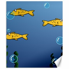 Water Bubbles Fish Seaworld Blue Canvas 20  X 24   by Mariart