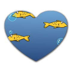 Water Bubbles Fish Seaworld Blue Heart Mousepads by Mariart
