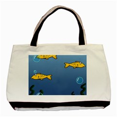 Water Bubbles Fish Seaworld Blue Basic Tote Bag (two Sides) by Mariart