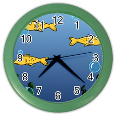 Water Bubbles Fish Seaworld Blue Color Wall Clocks by Mariart