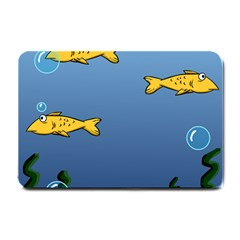 Water Bubbles Fish Seaworld Blue Small Doormat  by Mariart