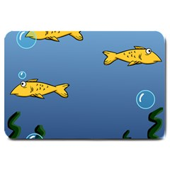 Water Bubbles Fish Seaworld Blue Large Doormat  by Mariart