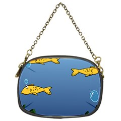 Water Bubbles Fish Seaworld Blue Chain Purses (one Side)  by Mariart