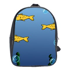 Water Bubbles Fish Seaworld Blue School Bags(large)