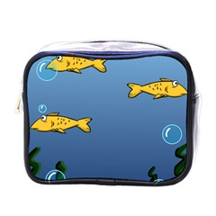 Water Bubbles Fish Seaworld Blue Mini Toiletries Bags by Mariart