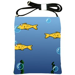 Water Bubbles Fish Seaworld Blue Shoulder Sling Bags by Mariart