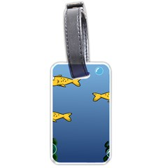 Water Bubbles Fish Seaworld Blue Luggage Tags (two Sides) by Mariart