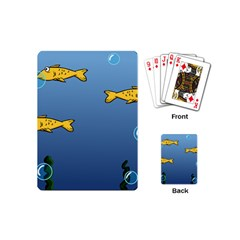 Water Bubbles Fish Seaworld Blue Playing Cards (mini)  by Mariart