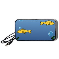 Water Bubbles Fish Seaworld Blue Portable Speaker (black) by Mariart